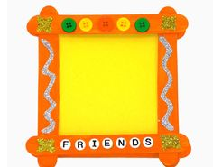 Create a colorful craft stick picture frame from popsicle style craft sticks, Elmer's Glue-All, Paint Pens, as well as a few other craft items. Kids Crafts, Crafts For Teens, Diy And Crafts, Craft Projects, Picture Frame Crafts, Friends Picture Frame, Picture Frames, Popsicle Stick Crafts, Popsicle Sticks