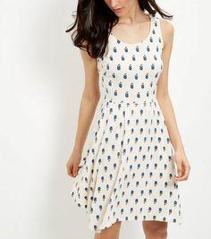 Cream Floral Print Hanky Hem Smock Dress | New Look