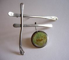 Brooch | Ed Wiener.  Sterling silver and Jade.  ca. 1950