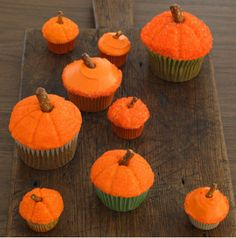 Easy Pumpkin Cupcakes      With such a simple design, these pumpkin cupcakes can be made quickly for any Halloween event on your calendar.    To make the cupcakes, follow these steps:    1. Frost cupcakes with orange frosting and dust with orange sprinkles.    2. Use a wooden skewer to draw pumpkin veins radiating from the center to the outer edge of the cupcakes.    3. Break large pretzel rods into small pieces and stick into the top of the cupcakes for stems.
