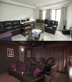cinema em casa, antes e depois, sala de exibio, rei da reforma (Foto: Divulgao/GNT)