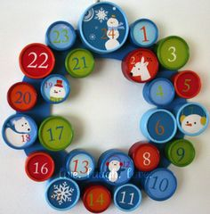 A Scrapbook of Me: Christmas Advent Calendars - just had a sudden idea for all the tiny baby food jars I've been saving Christmas Countdown, Noel Christmas, All Things Christmas, Xmas, Christmas Paper, Christmas Ideas, Baby Food Jar Crafts, Baby Food Jars, Advent Calenders
