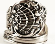 "Sterling Silver Spoon Ring with ""Johnson"" Engraved in Victorian Towle ""Stuart"" Pattern, Handcrafted & Adjustable to Your Size (2887)"