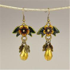 Fashion Tibetan Style Earrrings, with Jewlery Beads, and Iron Earrings Hooks, Gold, 57x30mm