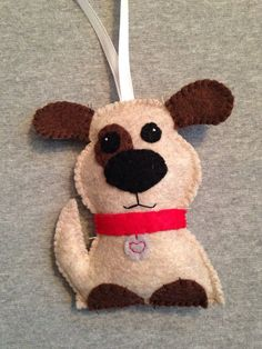 Puppy Dog Christmas Ornament from TuscanyCreative… Dog Christmas Ornaments, Felt Christmas, Felt Ornaments, Christmas Holidays, Christmas Crafts, Crafts For Kids, Arts And Crafts, Felt Dogs, Spring Art