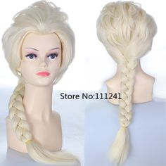 Elsa 70cm Light Golden Long Braid Synthetic Cosplay Costume Wig,Party Hair
