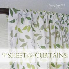 Sheet Curtains 2 twin flat sheets, create sleeve at bottom of sheet - leaving the wide hem at bottom when finished, use Stitch Witchery instead of sewing! Flat Sheet Curtains, No Sew Curtains, How To Make Curtains, Rod Pocket Curtains, Flat Sheets, Bed Sheets, Porch Curtains, Twin Sheets, Shower Curtains