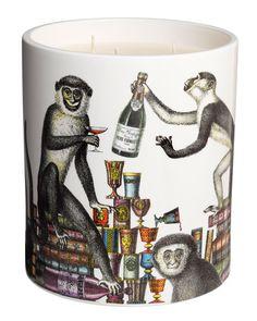 Fornasetti Scimmie Gigantesco Scented Candle, White - Neiman Marcus