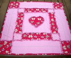 Valentine Hearts and Butterflies Rag Quilt by QuiltingFrenzy