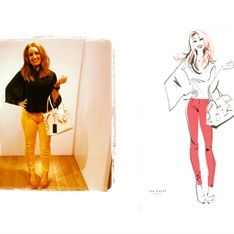 Live painting illustration of fashion lady by Jacqueline Bissett