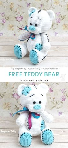 Free Teddy Bear Crochet Pattern Amigurumi bears are a perfect toy . Free Teddy Bear Crochet Pattern Amigurumi bears are a perfect toy idea. Children love bears because they a. Crochet Pattern Free, Crochet Bear Patterns, Pattern Sewing, Crochet Teddy Bears, Diy Teddy Bear, Amigurumi Patterns, Doll Patterns, Stuffed Animal Patterns, Crochet Stuffed Animals