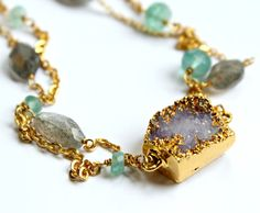 Amethyst apatite and labradorite gemstone statement necklace -catherine masi