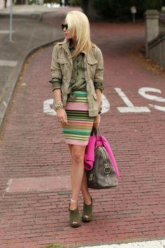 Girly colors mixed with army greens and khakis,  Go To www.likegossip.com to get more Gossip News!