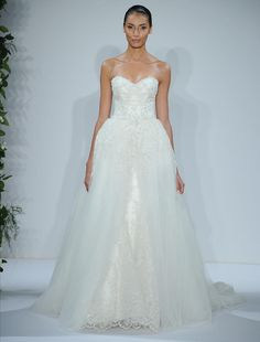 Strapless Dennis Basso wedding dress with removable skirt