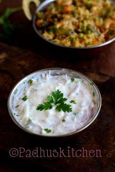 Simple, easy and refreshing onion raita - side dish for biryani and pulaos.