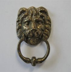 """SALE, vintage Solid Brass Lion's Head Door Knocker, Home Decor, Front Door, 4"""" x 6 1/4"""", Architectural Salvage Hardware, cat head, gift idea by jewelryandthings2 on Etsy https://www.etsy.com/listing/556476058/sale-vintage-solid-brass-lions-head-door"""
