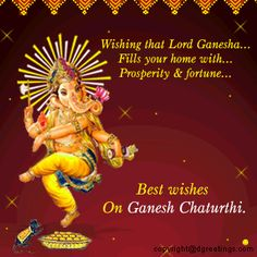 Ganesh Chaturthi greetings , Ganesh Chaturthi wishes and Ganesh Chaturthi Quotes - Messages - Pictures - Images Ganesh Chaturthi Quotes, Ganesh Chaturthi Greetings, Happy Ganesh Chaturthi, Sri Ganesh, Ganesh Lord, Ganesh Images, Ganesha Pictures, Good Morning Wishes, Good Morning Quotes