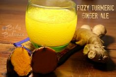 Learn how to make your own fizzy turmeric-ginger ale soda. Yummy healing probiotic drink.
