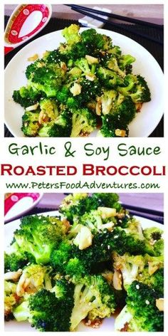 Roasted Broccoli with Garlic and Soy Sauce – Peter's Food Adventures Super easy and delicious. Chinese style, oven roasted, flavourful and packed full of vitamins. The best broccoli side dish you ever had! Roasted Broccoli with Garlic and Soy Sauce Side Dish Recipes, Vegetable Recipes, Asian Recipes, Vegetarian Recipes, Healthy Recipes, Broccoli Recipes Side Dish Healthy, Delicious Recipes, Recipes With Soy Sauce, Dishes Recipes