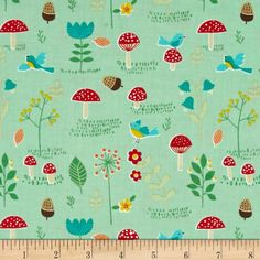 Rusty and Friends Mushrooms Patch Green from @fabricdotcom  Designed by Mitzi Powers for Benartex, this cotton print is perfect for quilting, apparel and home decor accents. Colors include red, yellow, teal, orange with a green background.