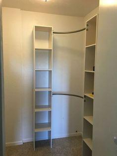 corner closet diy, closet, diy, organizing, shelving ideas, storage ideas