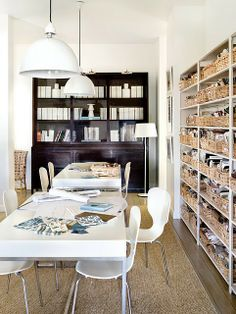 Love the baskets/shelving idea for basement + work table and chairs