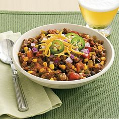 Slow-Cooker Turkey Chili   Made with black beans, lean ground turkey, and an assortment of veggies, this easy chili recipe requires only 20 minutes of hands-on time.