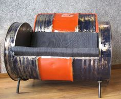 This would be great in a teen boys room or game room. LOVE this upcycled 'chair'