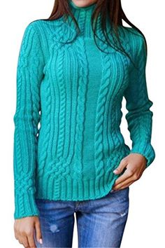 Pink Queen Women s Cable Knit Crewneck Casual Pullover Sweater Turquoise S  Collar Top 0150fd469