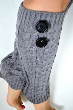 Gray Cozy Cable knitted leg warmers, call me crazy but I even like this as a portrait lol