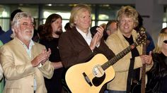 The Moody Blues arrive at Wellington airport in 2006. From left, Graeme Edge, Justin Hayward and John Lodge during the ...