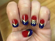 Nail art Christmas - the festive spirit on the nails. Over 70 creative ideas and tutorials - My Nails Acrylic Nail Art, Nail Art Diy, Easy Nail Art, Simple Nail Art Designs, Nail Designs, Wonder Woman Nails, Wonder Woman Makeup, Marvel Nails, Avengers Nails