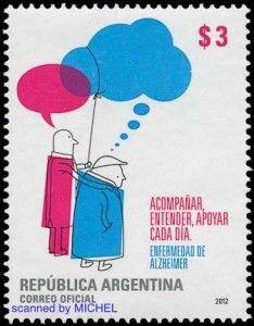 """""""Republica Argentina"""" Sello Postal ~ 3 Pesos  ~  Enfermedad de Alzheimer."""
