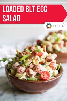 This loaded BLT Egg Salad combines eggs with creamy mayo, bacon, tomatoes, and chopped arugula for a flavorful twist on the classic egg salad you'll love! Healthy Living Recipes, Healthy Salad Recipes, Paleo Recipes, Egg Recipes, Entree Recipes, Side Dish Recipes, Lunch Recipes, Side Dishes, Fed And Fit