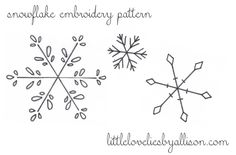 Perfect for winter- an embroidery stitching pattern. Free snowflake pattern download from Allison of little lovelies.