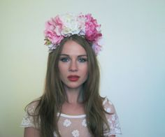 Pink and White Peony Rose Flower Crown Oversized