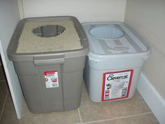 Want to try a DIY litter box? This one is a home made covered box with high sides - made from a storage tote!