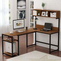 L-shaped desk with hutch corner computer shelf gaming writing table workstation storage bookshelves home office – Glass Office Desk Computer Desk With Hutch, Desk Hutch, Desk Shelves, Desk Storage, Computer Shelf, Office Bookshelves, Corner Computer Desks, Corner Desk Diy, Desk For Two