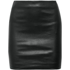 The Row Loattan stretch-leather mini skirt ($1,620) found on Polyvore featuring women's fashion, skirts, mini skirts, saias, bottoms, jupes, short leather skirt, leather miniskirt, mini skirt and pull on skirts