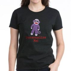 Cafepress Personalized Purple Sock Monkey Women's Dark T-Shirt, Size: 2XLarge (+$3.00), Black