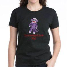 Cafepress Personalized Purple Sock Monkey Women's Dark T-Shirt, Size: 2XLarge (+$3.00), Black