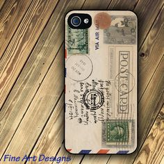 iphone 4 case and iphone 4s case with Vintage Postcard image