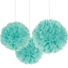 Rounded Robin's Egg Blue Fluffy Decorations are made out of teal tissue paper and include strings for hanging. Display these hanging wedding decorations at a bridal shower or anniversary party! Blue Wedding Decorations, Pom Pom Decorations, Paper Decorations, Tiffany Blue Decorations, Turquoise Decorations, Turquoise Party, Turquoise Accents, Tiffany Theme, Tiffany Blue Party