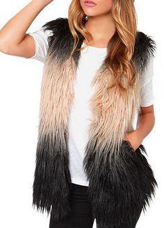 Charming Artificial Fur Design Color Block Waistcoat for Woman