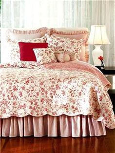 French Country Red & Ivory White Ticking Stripe Dust Ruffle