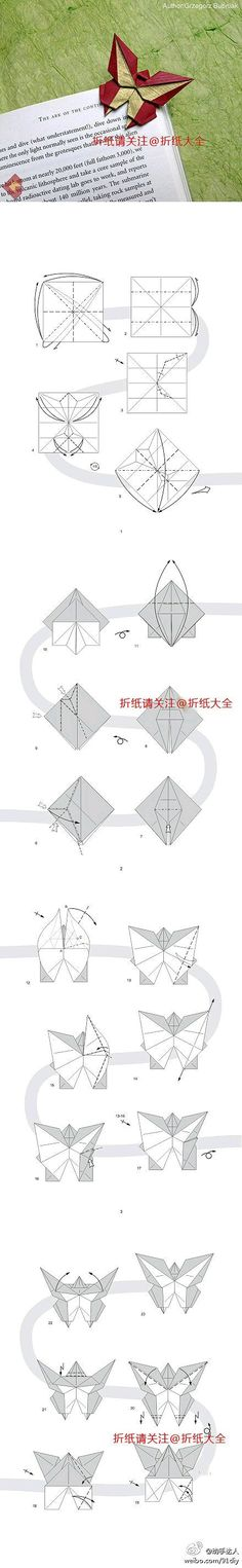 Origami Butterfly Art Oragami Ideas Guide Books Fabric Bookmark Tutorial