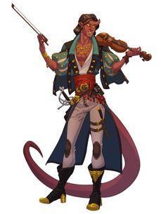 M tiefling bard rogue RPG Fantasy Character Design, Character Design Inspiration, Character Concept, Character Art, Dungeons And Dragons Characters, D D Characters, Fantasy Characters, Fantasy Races, Fantasy Art