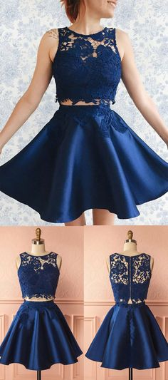 Two Pieces Homecoming Dresses,Blue Homecoming Dresses,Lace Applique Homecoming Dresses,Short Prom Dresses,Sexy Party Dresses,Satin Homecoming Dress