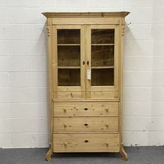 Partly Glazed Antique Pine Cabinet With Bottom Drawers (F6305D)
