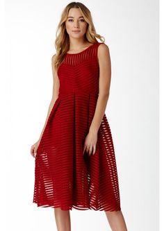 Anastasia Fine Lines Midi Dress in Burgundy   Necessary Clothing